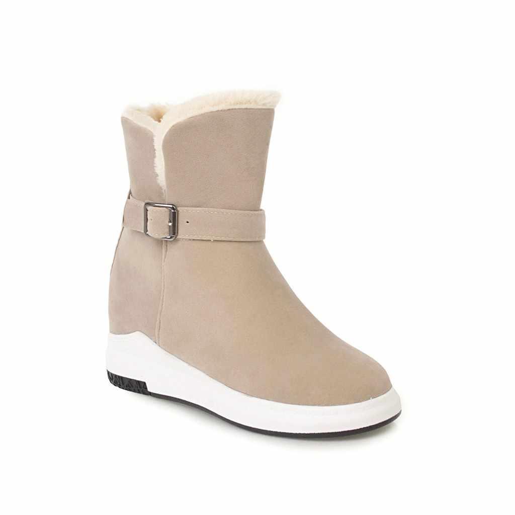 NEMAONE Weibliche Winter Warme Plüsch Knöchel Schnee Stiefel 2019 Frauen Mode Pelz Spitze Up Starke Ferse Casual Solide Schwarz Stil schuhe