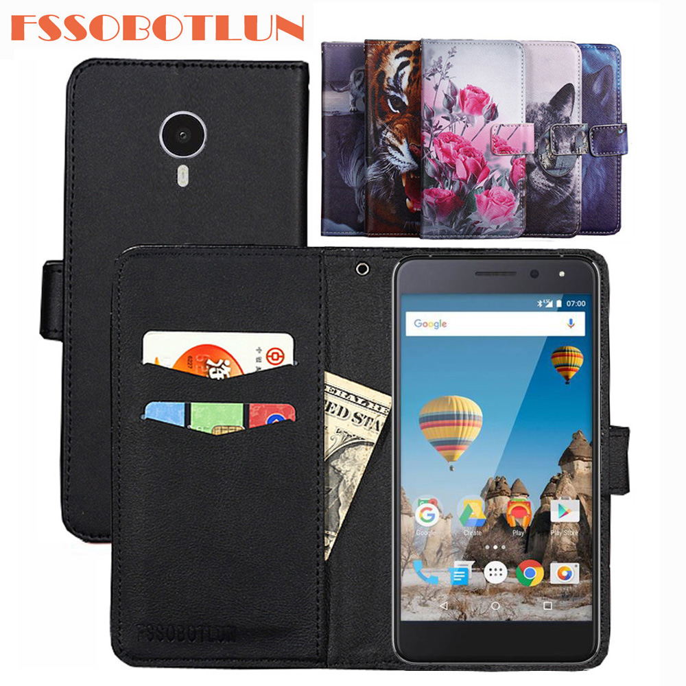 FSSOBOTLUN For GENERAL MOBILE GM 5 Case PU Leather Retro Flip Cover Shell Magnetic Wallet Cases Kickstand Strap for GM5 image