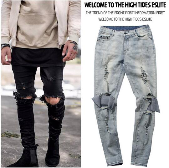 Skinny Distressed Slim Ripped Jeans For Men Male Famous Brand Designer Biker Hip Hop Black Denim Hole Jeans Pants Kanye West biker jeans mens brand black skinny ripped zipper full length pants hip hop cotton denim distressed pantalones vaqueros hombre