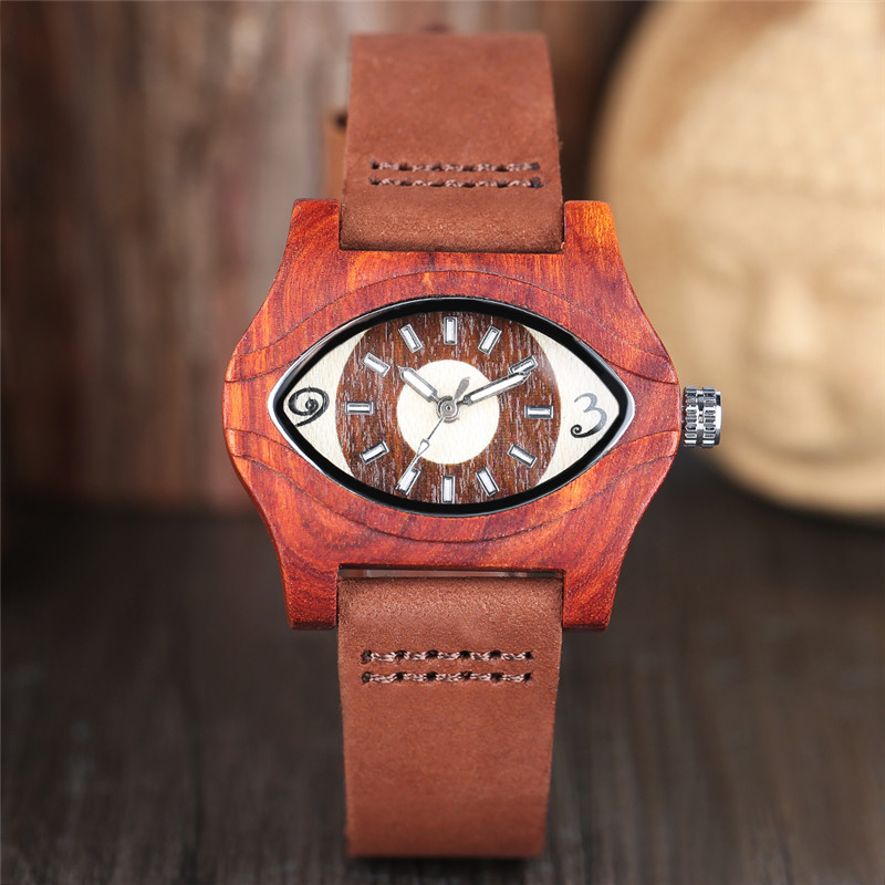 Fashion Women Wooden Watch Special Big Charming Eyes Dial Red Wood Case Exotic Trendy Girls Ladies Wood Wristwatch Teens Clocks [] every day special offer wooden wood self defense stick home car wooden baseball bat hard wooden club club