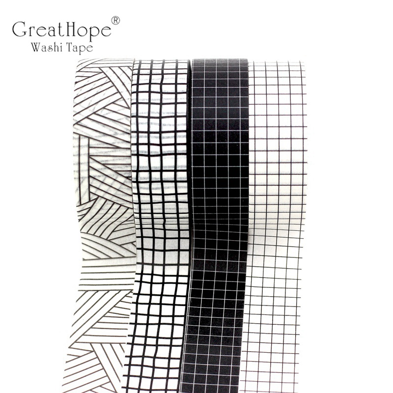 1.5cmx10m Black And White Grid Washi Tape Set Japanese Paper Planner Masking Tape Adhesive Tapes Stickers Decor Stationery Tapes