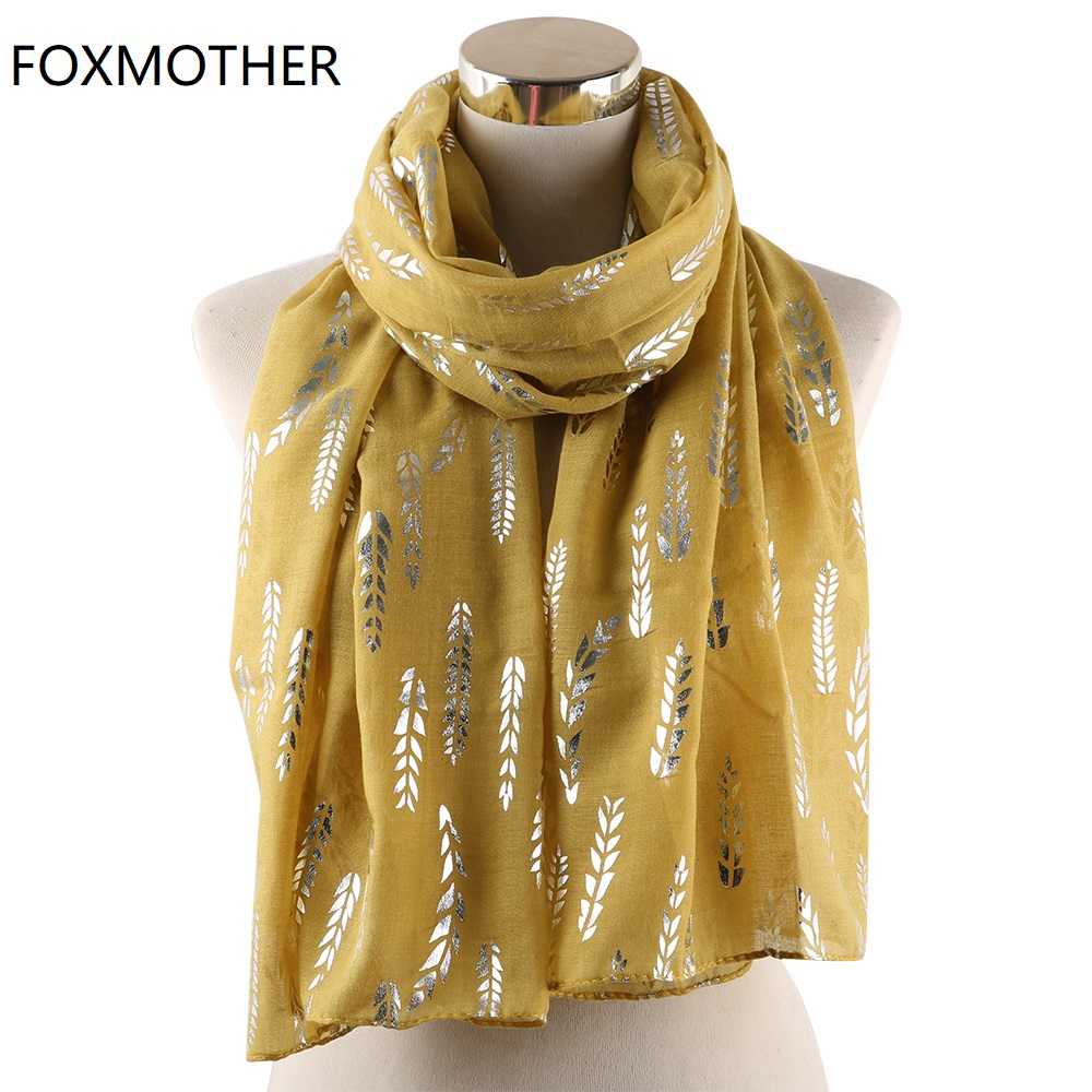 FOXMOTHER New Fashion Wheat Scarf Women Foil Sliver Shiny Glitter Scarves Yellow Pink Shimmer Shawl Wraps Foulard Hijab Ladies in Women 39 s Scarves from Apparel Accessories
