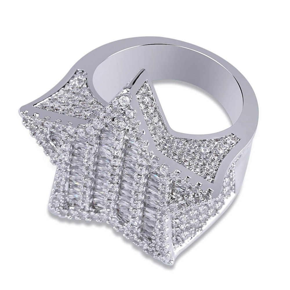 จิงโจ้ใหม่ออกแบบทองคำเงินสี Five - pointed Star แหวน Micro Paved Big Zircon Hip Hop นิ้วมือสำหรับผู้ชายผู้หญิงของขวัญ
