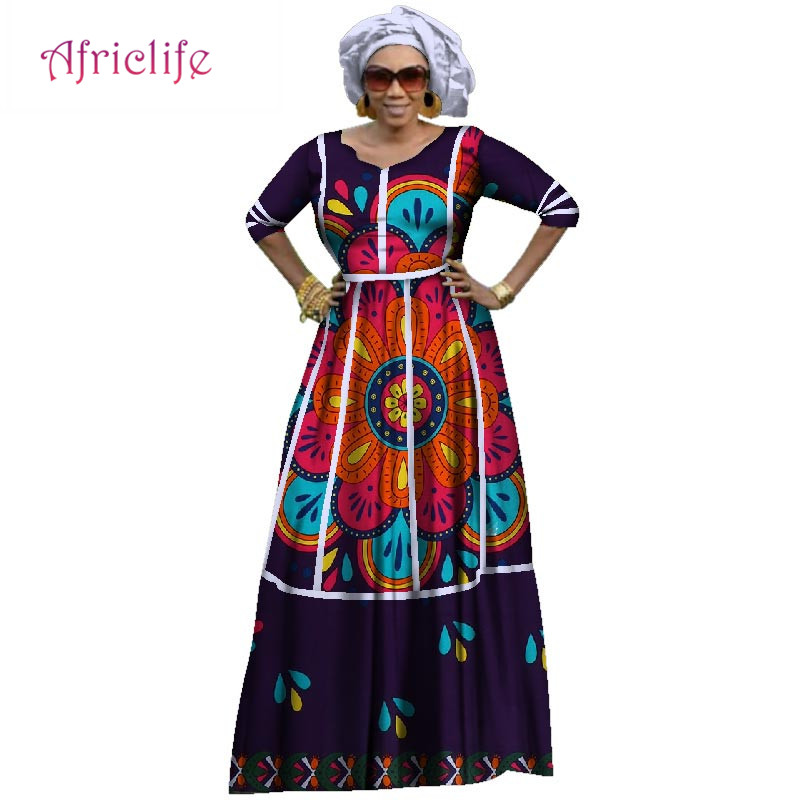 2019 Sexy Plus Size Women Africa Custom Dresses Clothing Bazin Riche African Cotton O-Neck Print Long Dresses for Women WY2924