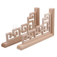 2x Home Window Door DIY Wood Carved Corner Onlay Applique Frame 30x18cm BQLZR