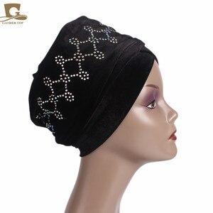 Image 3 - Novo Luxo magia Veludo Nigeriano Diamante Cravejado Extra Longas mulheres muçulmanas Cabeça Turbante envoltório Lenço Mulheres Hijab Turbante
