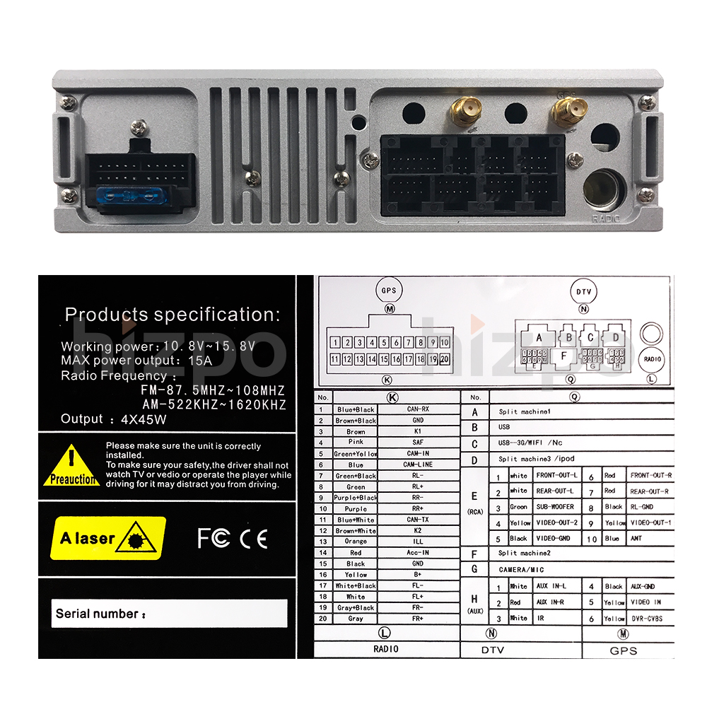 9 pouces Android 8.1 Quad Core 2G + 16G GPS Voiture DVD Lecteur Magnétophone Radio 4 3gwifi pour BMW E39 2002 2003 E38 X5 E53 M5 Gamme Rover - 5