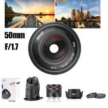 Meike lente de enfoque Manual F1.7 de 50mm para Sony e mount, marco completo, cámara sin Espejo, A7II, A7RIII, para Canon, RF, Fuji, Fujifilm, Nikon Z