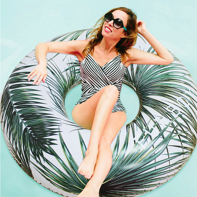2018 Newest Inflatable Island Summer Swimming Ring Palm Coconut Tree Swim Circle Float Ring Summer Beach Sea Party Piscina Boias