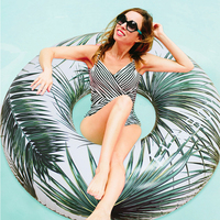 2019 Newest Inflatable Island Summer Swimming Ring Palm Coconut Tree Swim Circle Float Ring Summer Beach Sea Party Piscina Boias