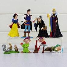 8 יח\חבילה נסיכת שלג ושבעת הגמדים מלכת מכשפה נסיך איור צעצועי דגם בובות