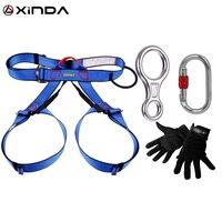 Promo XINDA profesional al aire libre equipo de escalada en roca rappel rescate escapar Kits de 4 piezas mosquetón descendente de seguridad guantes, cinturón