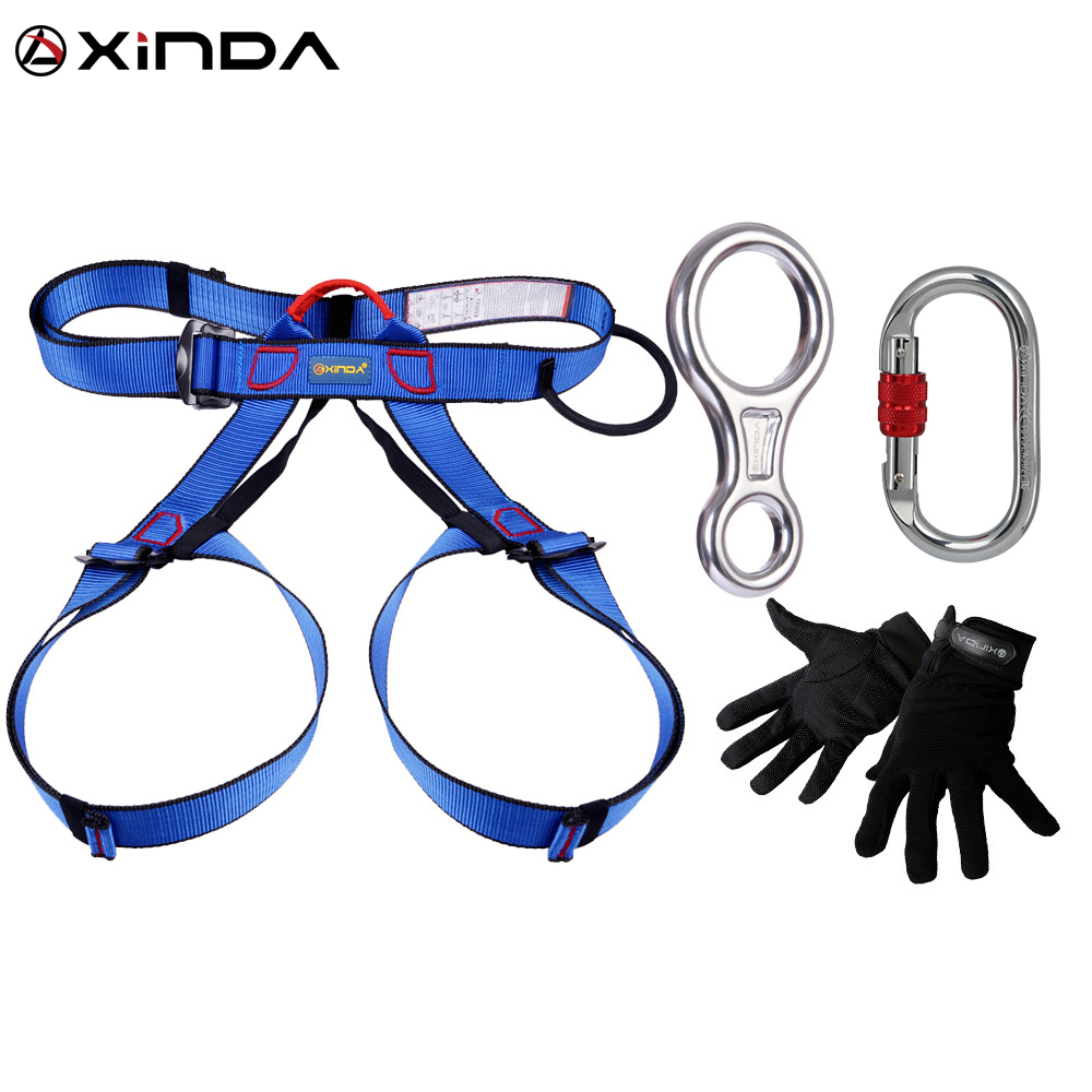 XINDA Professional Outdoor Equipment Arrampicata su roccia in corda doppia Rescue Escape Kit 4 Pezzi Discender Moschettone Safety Belt Guanti