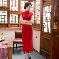YZ Red Elegant Chinese Style Wedding Dress Vintage Women Sexy Lace Flower Qipao New Arrival Handmade