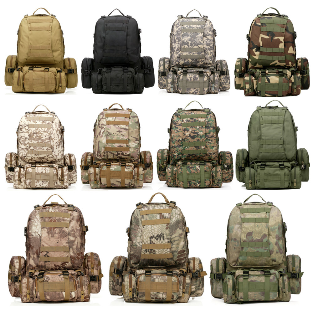 Free Shipping 11 Colors Large 50L Molle Assault Tactical Military Rucksacks Backpack Camping Bag Sport Outdoor