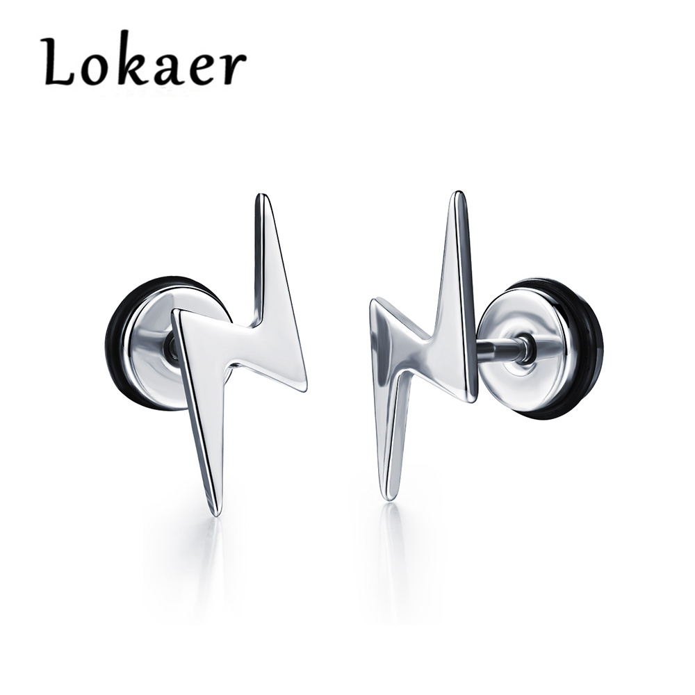 Rock  Design White Gold Color Earrings Jewerly For Boy Lge323