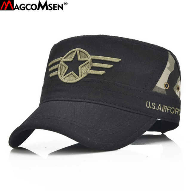 f9f37173add605 MAGCOMSEN Summer Unisex Camo Military Hats Tactical Army Flat Breathable  Caps Fashion Casual Sun Proof Pilot