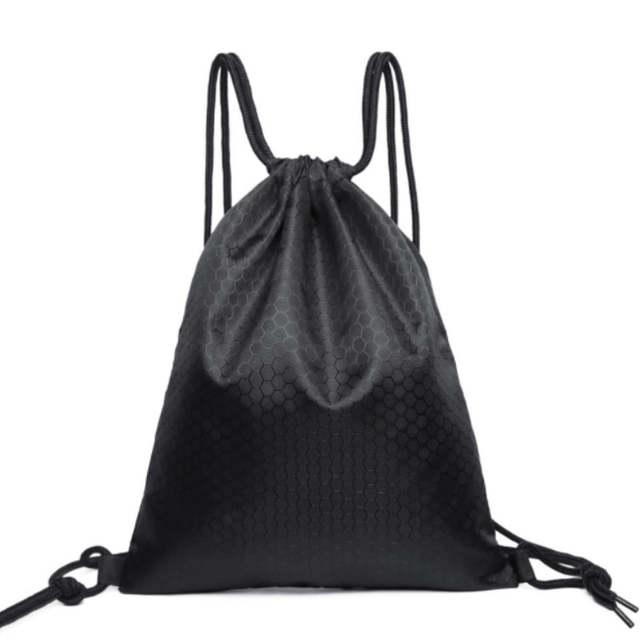 Black Polyester Drawstring Bag String Sack Beach Women Men Travel Storage Package Agers Backpack