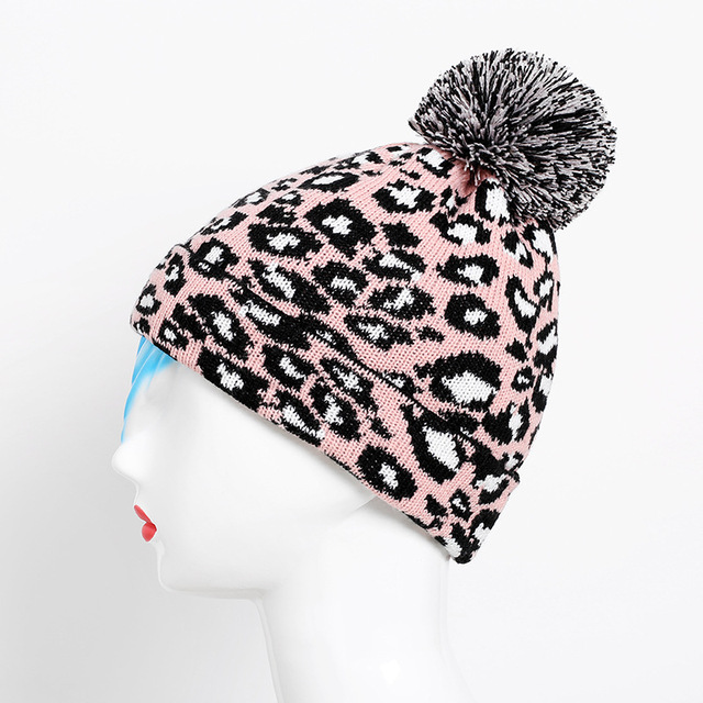 dfb92554338 Ladychili Women Winter Cap Keep Warm Soft Beanie Basic Cap Leopard Print  Special Hat with Large Ball Knitted Soft Beanies CC33