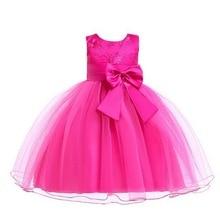 купить Vintage Flower Girls Dresses Summer Sleeveless Dress Kids Clothes Children Baby Girl Wedding Dress Birthday Big Bow Christening дешево