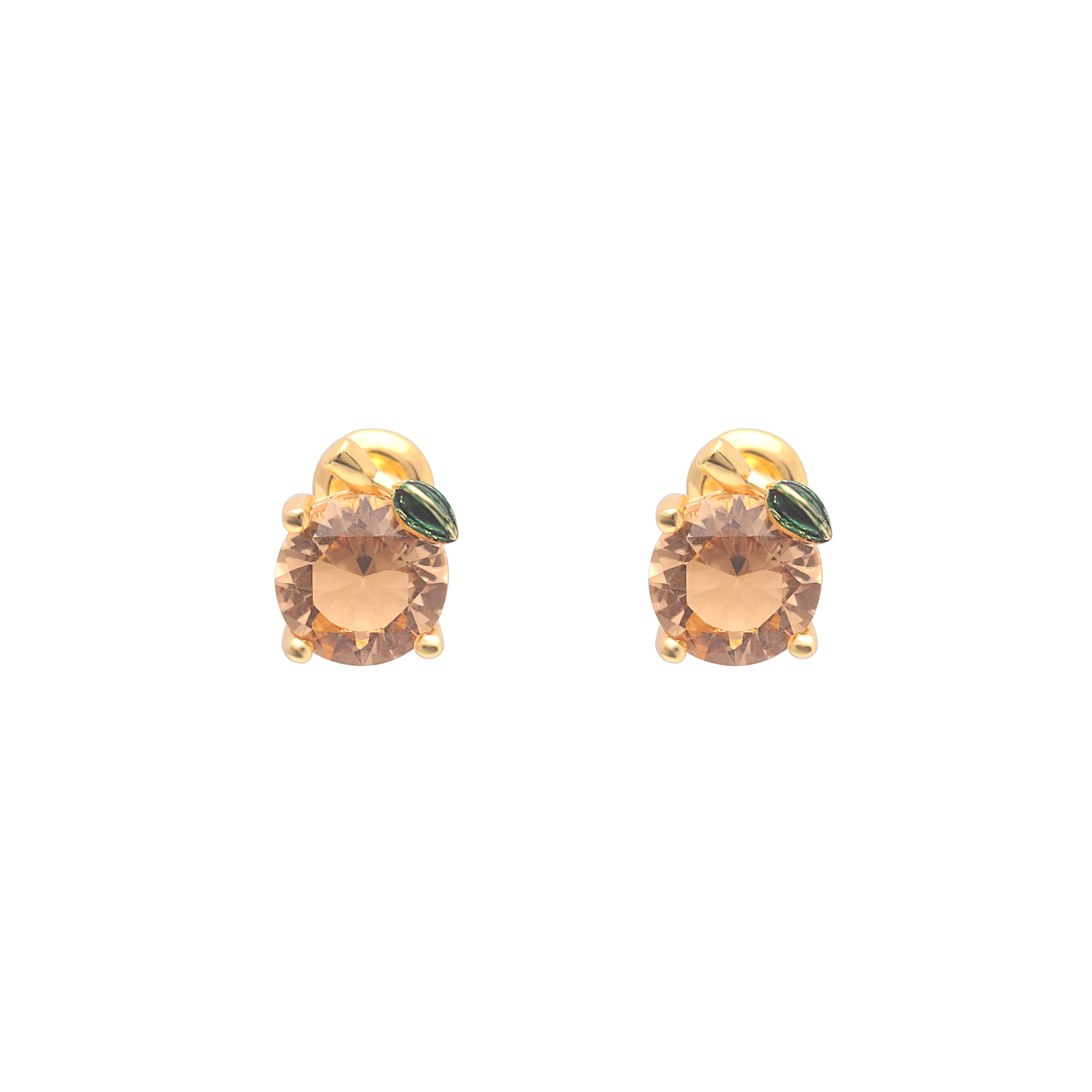Ufooro Round Brown Color Zircon Jewelry Classic Fashion Gold Color Stud Earrings For Women Engagement Accessories Girls Gift