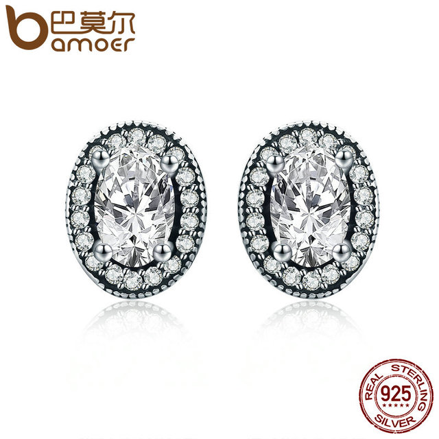 Bamoer Authentic 925 Sterling Silver Vintage Elegance Stud Earrings Clear Cz For Women
