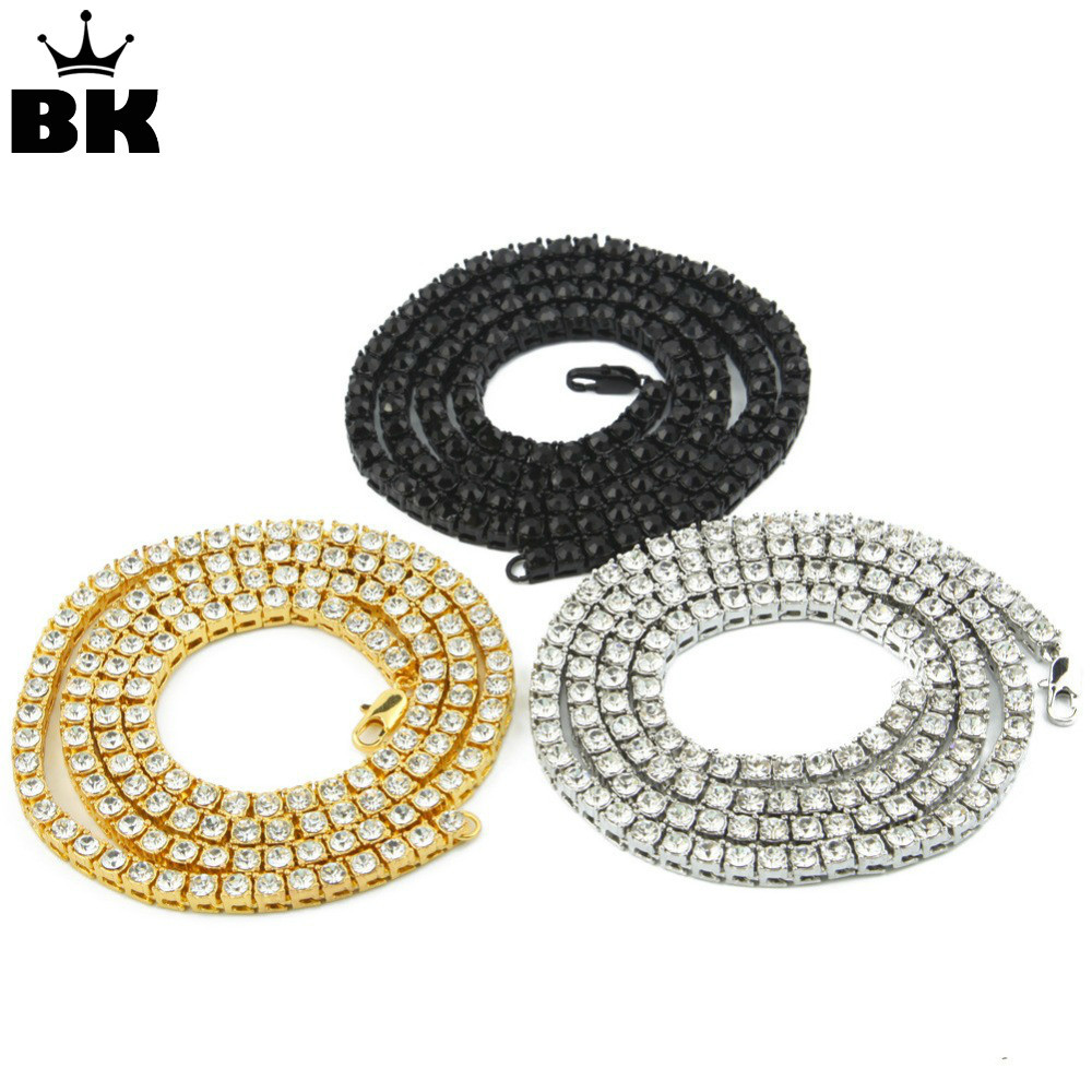 Drop Shipping Mens Iced Out Rhinestone 1 Row 5mm Tenis HipHop Emas Perak Hitam 18,20,22,24,26,30,36 inci Kalung Bling
