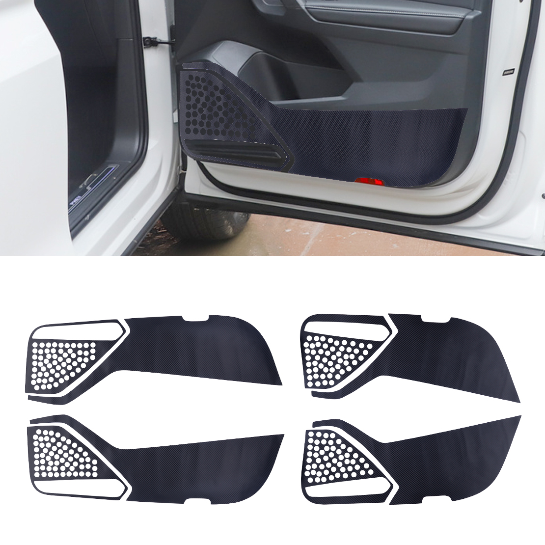 4pcs Car Front & Rear Door Protection Anti-Kick Pad Vinyl Mat Sticker Fit For VW Tiguan 2017 2018