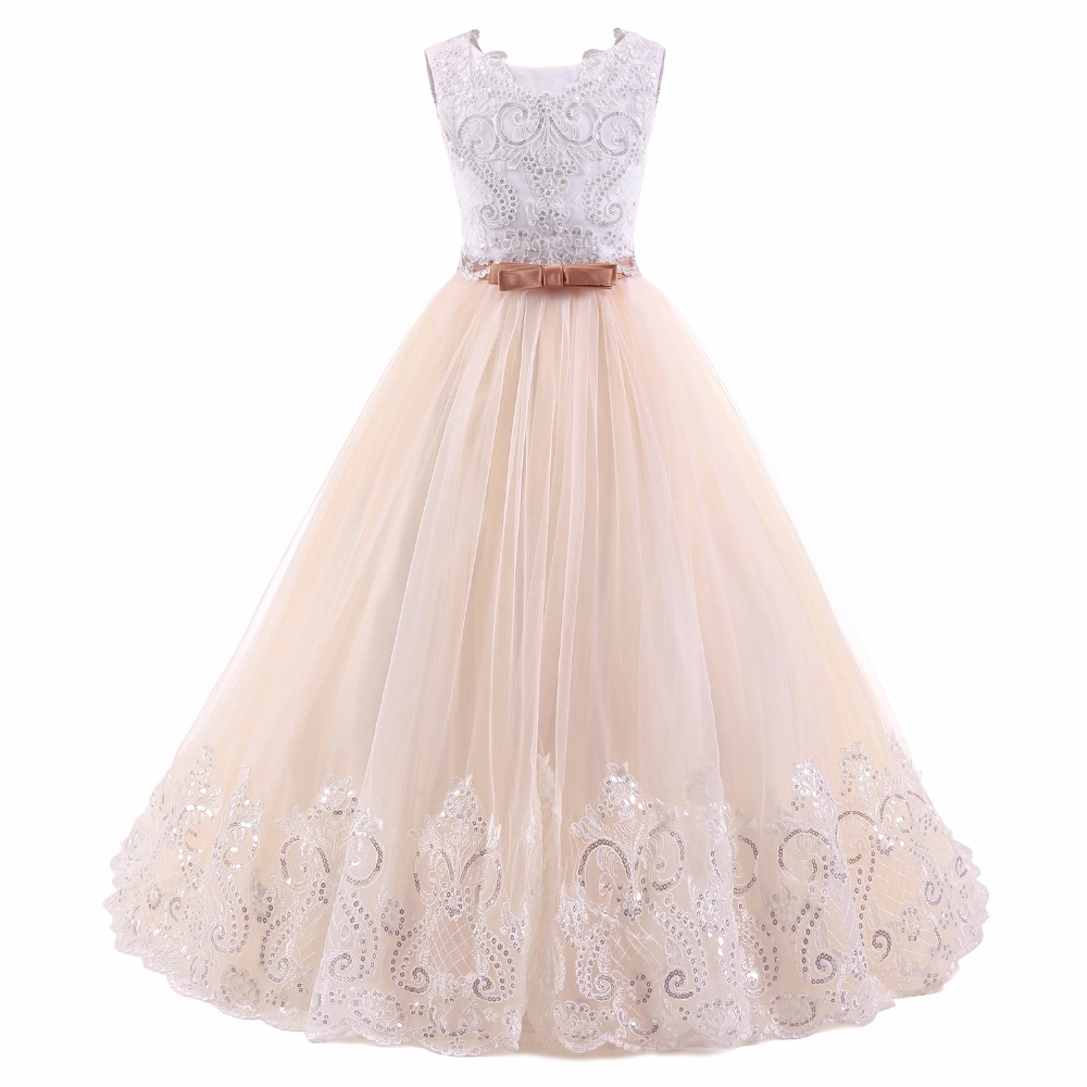 princess lace flower girl dress ball gown pageant dress for girls long first communion gown size 2-14Y girls formal dress lace three quarter ball gown backless bow sash long flower girls communion 2016 pageant dress 1 14 years old