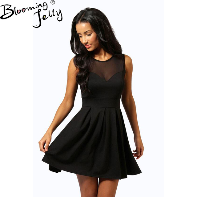 70841e38ee05 Blooming Jelly Sexy Sleeveless Black Mini Dress Mesh Patchwork Draped Swing  Dress High Waist Party Club New Women Summer Dresses