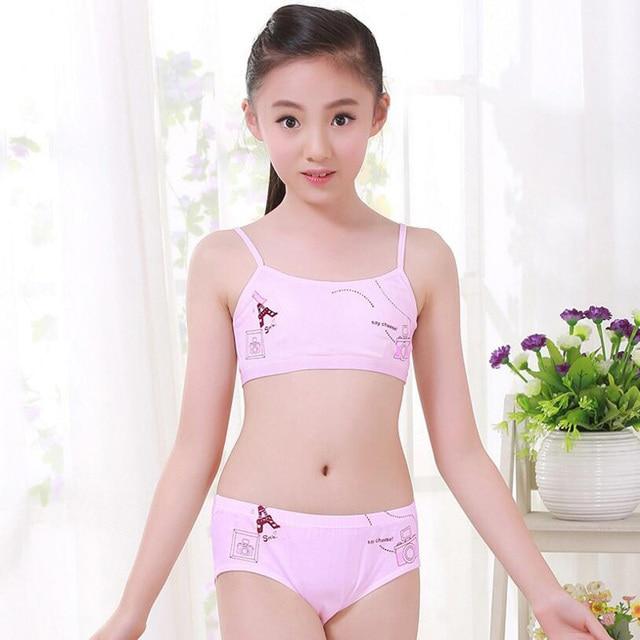 Newest Young Girl cotton underwear set Training Bras Vest and Briefs Girls  underclothes sets Student sling underwear suit -8051 9c098b87b