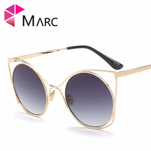 Фотография MARC UV400 WOMEN Cat eye fashion metal sunglasses Polarized Sliver Blue Alloy Gradient