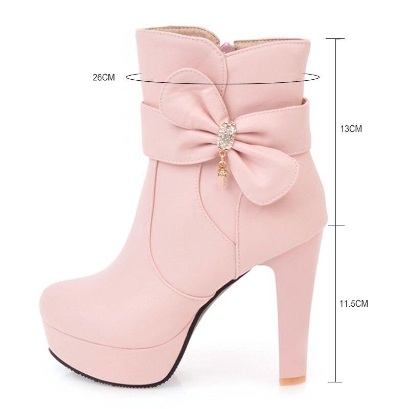 beige Sexy Mode Hauts Épais White Moto Fanyuan pink Talons Rond Automne forme Bottes 2017 Chaussures Femmes Cheville Plate black Bout kZiXuP