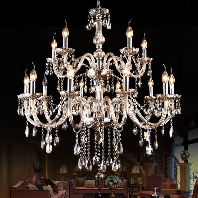European Style Cognac Color Modern Crystal Chandeliers Diameter 90cm 10+5 Arms  E14 Lustres Cristal Free Shipping
