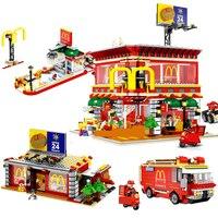 Горячий Совместимость legoinglys Город СВЕТОДИОДНЫЙ Street View серии 4in1 Макдональд Рождество Ресторан строительные блоки игрушки для детей подарок