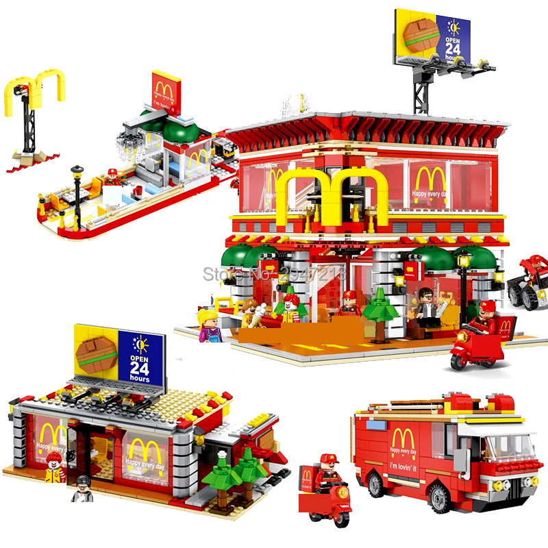 hot compatible LegoINGlys city LED Street View Series 4in1 Mcdonald Christmas Restaurant Building blocks toys for children gift 0367 sluban 678pcs city series international airport model building blocks enlighten figure toys for children compatible legoe