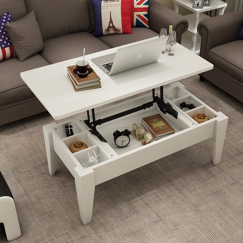 Coffee table lift dual use multi function folding minimalist small apartment living room coffee