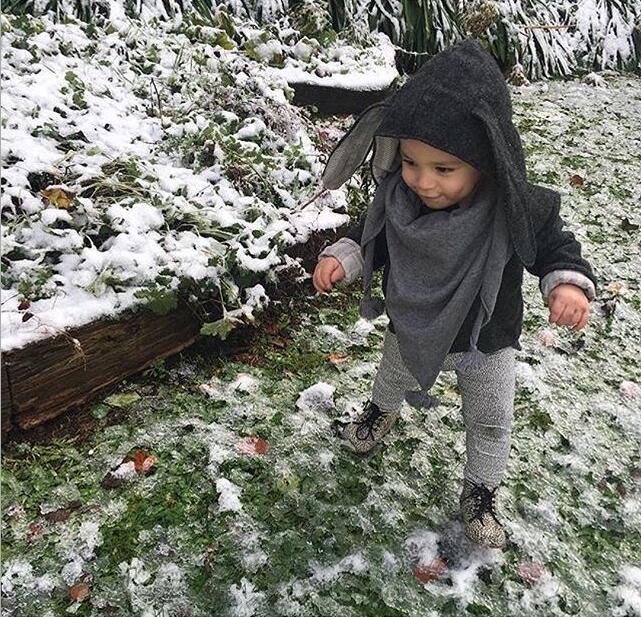 Милые осень-зима для малышей Одежда для маленьких девочек и мальчиков Теплый Кролик длинными ушами мягкая куртка Пальто для девочек верхня...