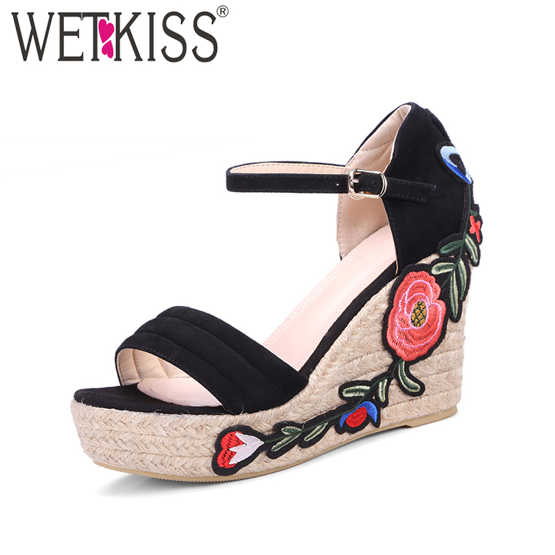 WETKISS Kid Suede Embroider Weave Wedges Summer Women Sandals Solid Platform Open toe Shoes Woman Concise Street Buckle Sandals phyanic 2017 gladiator sandals gold silver shoes woman summer platform wedges glitters creepers casual women shoes phy3323