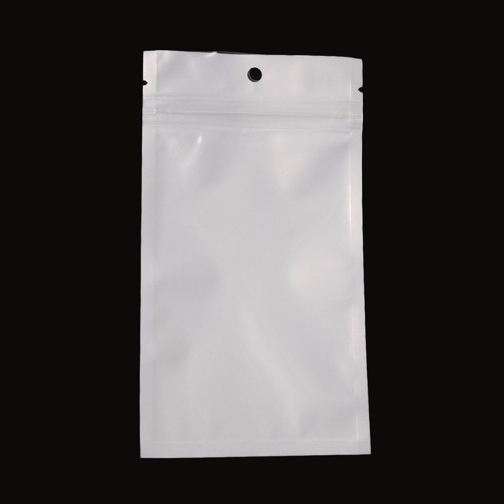 100pcs White//Clear Poly Hang Hole Self Seal Ziplock Storage Packaging Bag Zipper