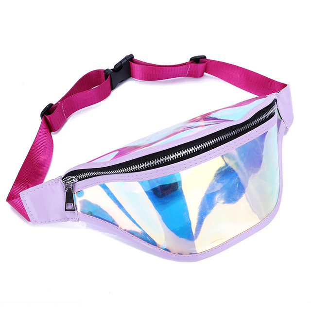 618537be21 US $7.99 35% OFF|Holographic Fanny Pack Women Laser Bum Bag Beach Shiny PVC  Waist Bags Hengreda Raves Hip Bag Fashion Hologram transparent bag-in ...