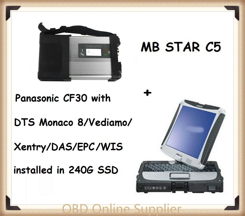 Prix pour 2017 Mb Étoiles SD Connecter C5 Outil De Diagnostic + Panasonic Ordinateur Portable CF30 + DTS Monaco 8 + Vediamo + Xentry + DAS + EPC Complète super enginees