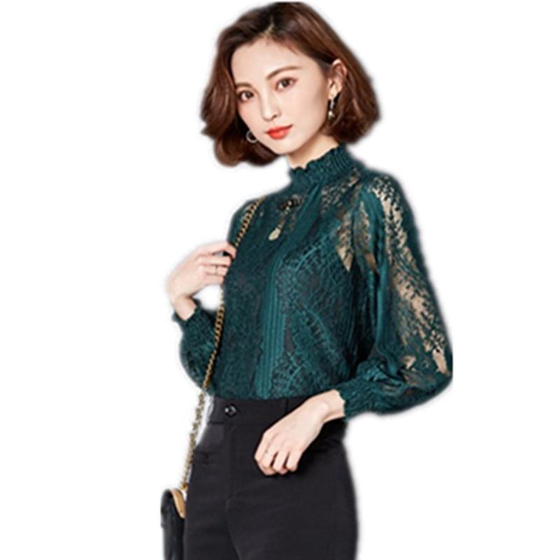 2019 nouvelle arrivée printemps été évider mode dentelle chemise nouveau col grande taille femmes à manches longues chemises
