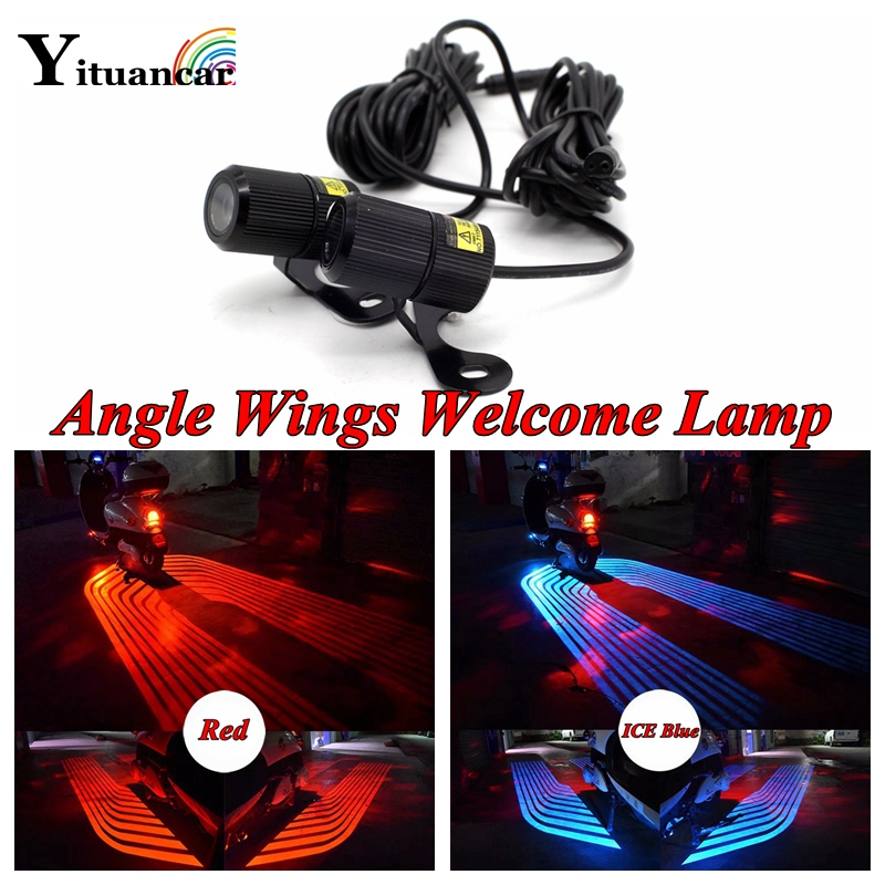 Yituancar 2Pcs 6W LED Laser Angle Wings Welcome Logo Warning Light Styling Anti Collision Parking Motorcycle Fog Atmosphere Lamp