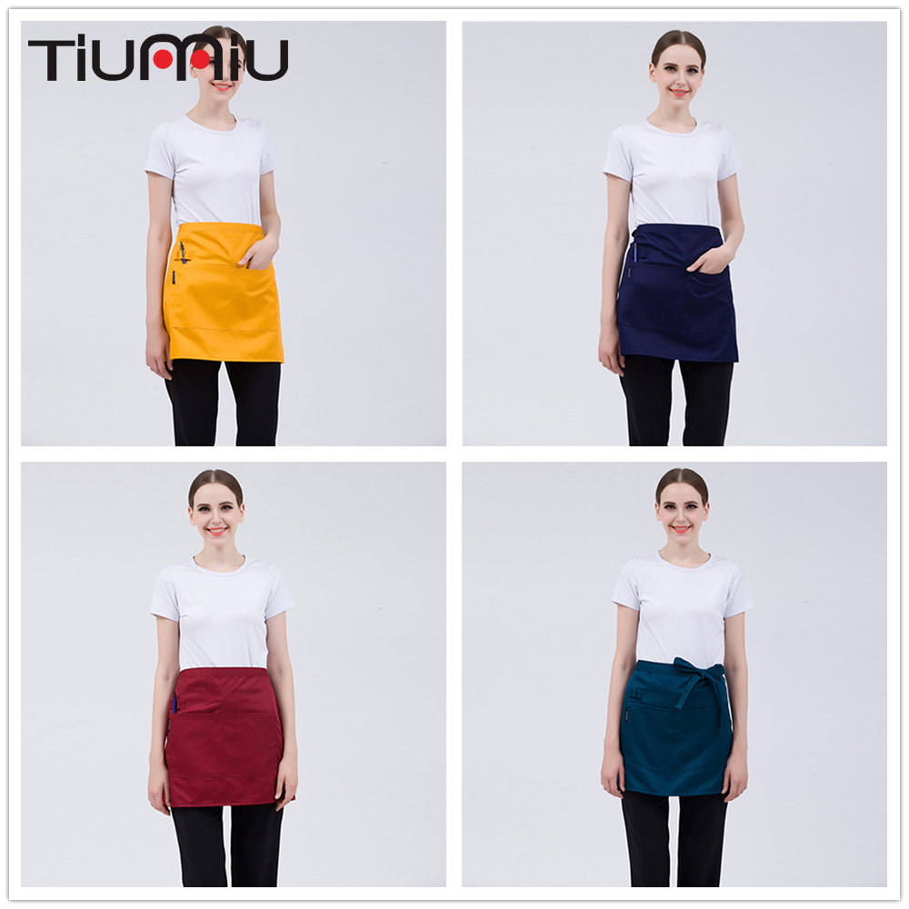 8 Colors Short Apron For Women Men High Quality Wholesale Kitchen Hotel Coffee Shop Bakery Chef Waiter Cleaning Work Wear Aprons