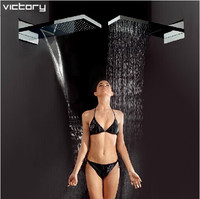 Luxury stainless steel waterfall shower head waterfall rainfall water saving head shower top bath shower with spa shower power