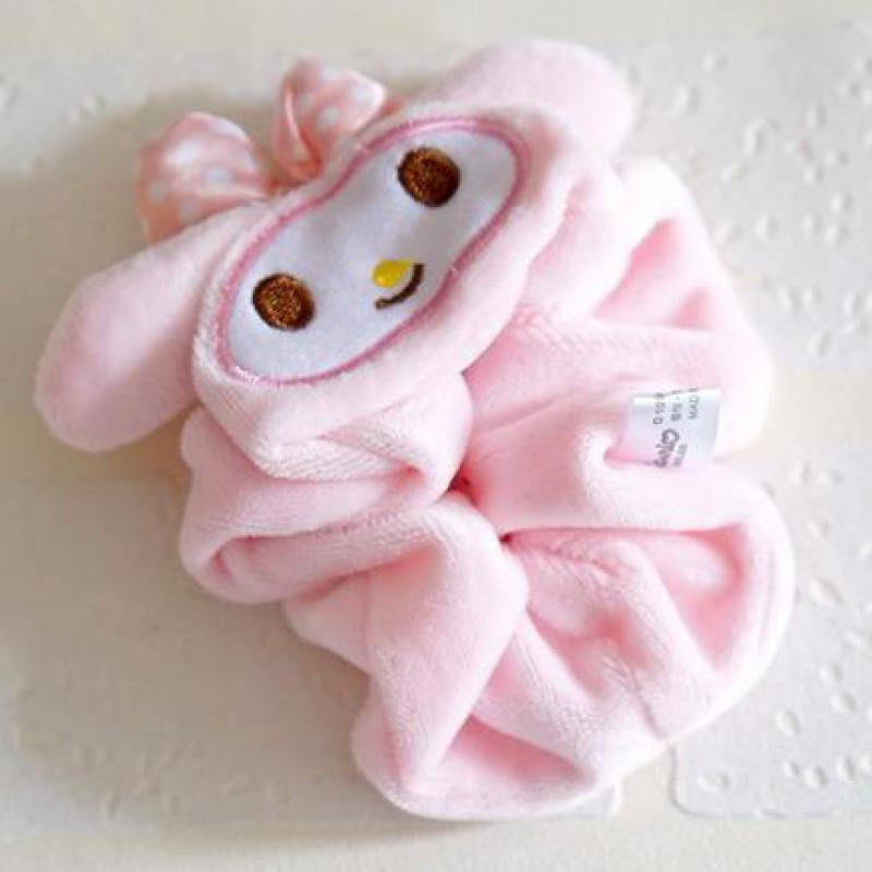 Lovely Kitty My Melody Big Ears Cinnamoroll Dog Egg Yolk Pudding Dog Series Peripheral Circle Velvet Hair Band Wrist Strap