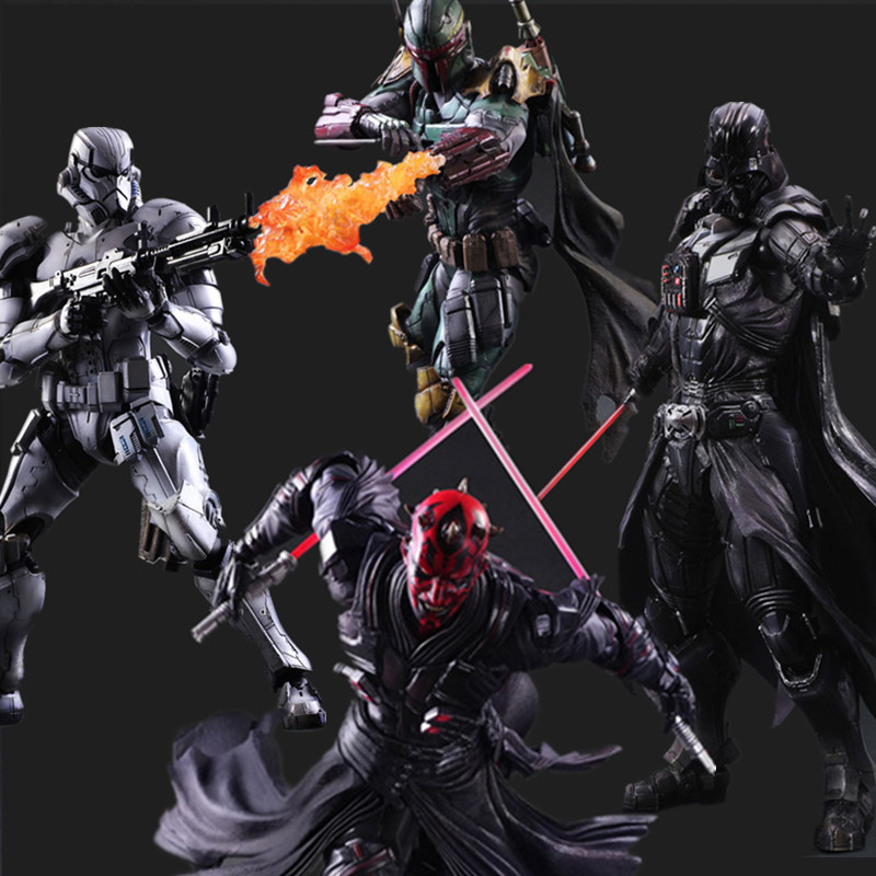 Star Wars Action Figure Play Arts Kai Boba Fett  Darth Vader Stormtrooper Maul Collectible Model Toy Anime Star Wars Playarts