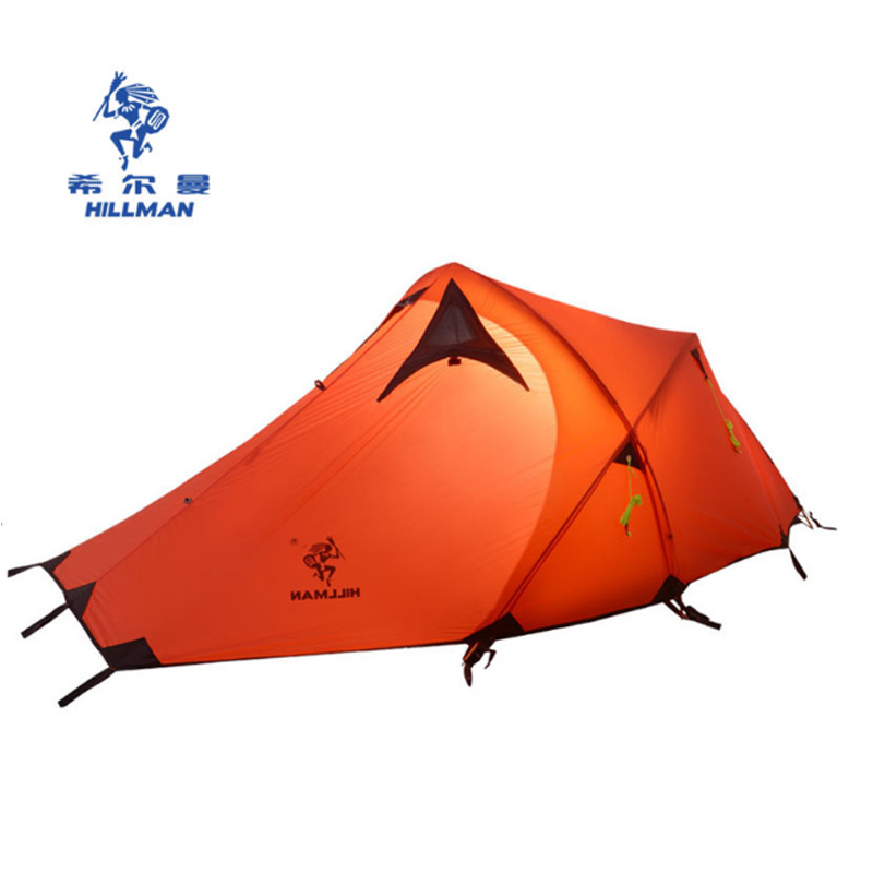 Hillman 2 Person Double Layer Ultralight Silicon Tent 2D Silicone Coated Nylon Waterproof Aluminum Rod Outdoor Camping Tent good quality flytop double layer 2 person 4 season aluminum rod outdoor camping tent topwind 2 plus with snow skirt