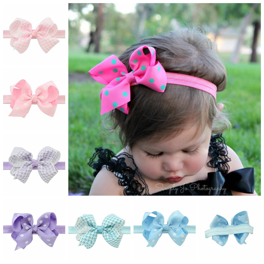 1PCS Girl Headbands Bow Hairband Elastic Wave Point Dots Ribbon Bow knot Photography For Children Hair
